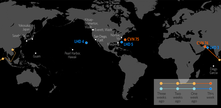 Карта расположения кораблей США