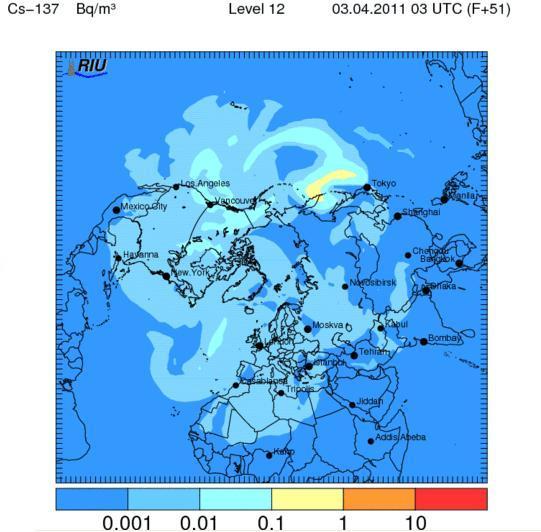 Зона распространения радиактивного изотопа цезий-137